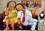 origineel dikke dames schilderij