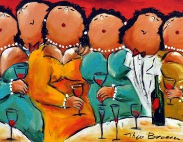 Theo Broeren schilderij dikke dames Wijn