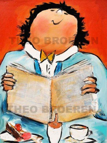 Theo Broeren schilderij krantje lezen1