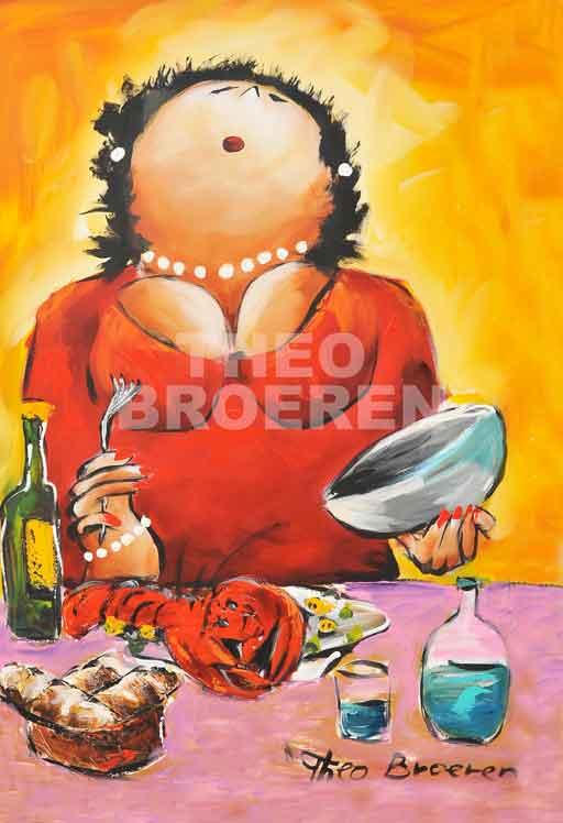 Dikke dames schilderij Theo Broeren Aan de Kreeft