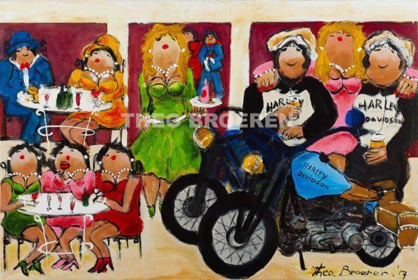 Dikke Dames Schilderij Motor