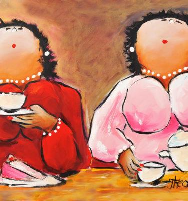 Dikke Dames Schilderij Thee